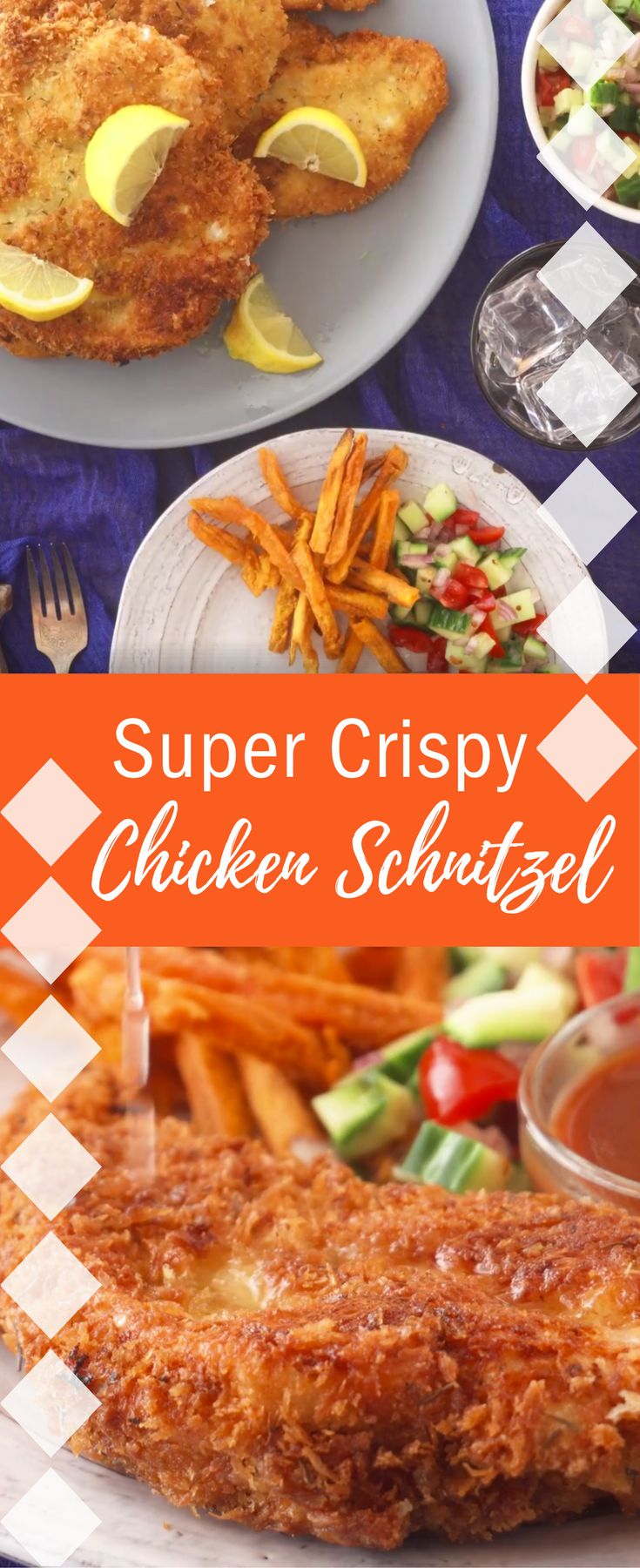 Check out this Super Crispy Chicken Schnitzel recipe! Leftovers make great sandwiches on rolls or stuffed  into pita with hummus and salad. Get the kids involved by letting them  help with the dipping and coating.