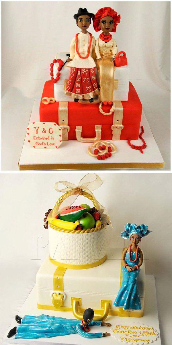 suitcase traditional nigeria wedding cake