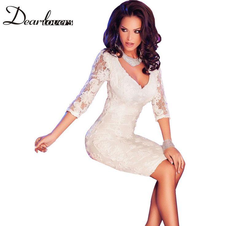 Дорогой любитель летом белый цветочные кружева ну вечеринку платья для женщин четверти рукава глубокий V шеи элегантные миди офисное платье LC60754 купить на AliExpress