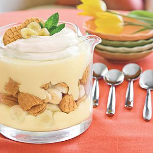 Nutter Butter®-Banana Pudding Trifle: 3 cups milk- 3 large eggs- 3/4 cup sugar- 1/3 cup all-purpose flour- 2 tbsp butter- 2 tsp vanilla extract- 5 medium-size ripe bananas- 1 (1-lb) package peanut butter sandwich cookies- 2 cups sweetened whipped cream...Shortcut click to see