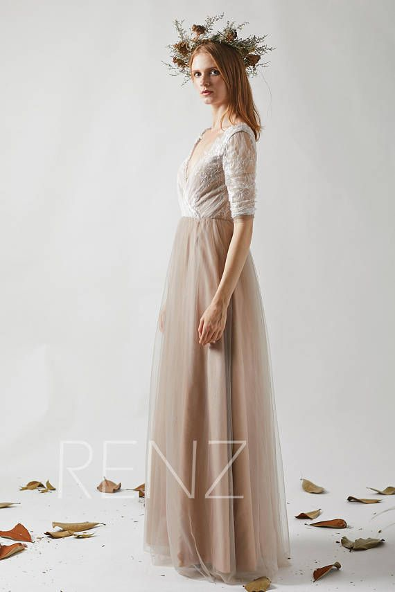 29cdb85c50f Bridesmaid Dress Pale Khaki Tulle Boho Wedding Dress Off White Lace ...