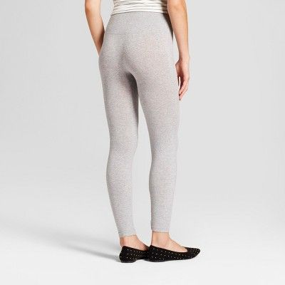 Women's Cotton Blend Seamless Leggings with 5 Waistband - A New Day Charcoal Heather S/M, Gray