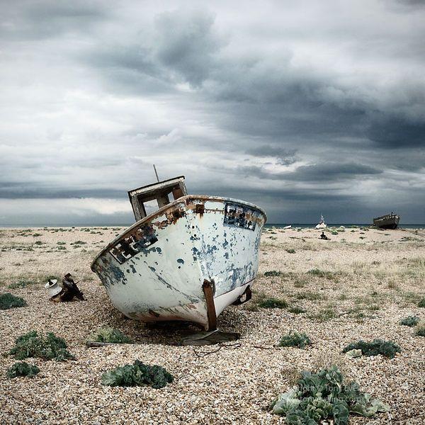 old fishing boat, dungeness,kent,england,uk