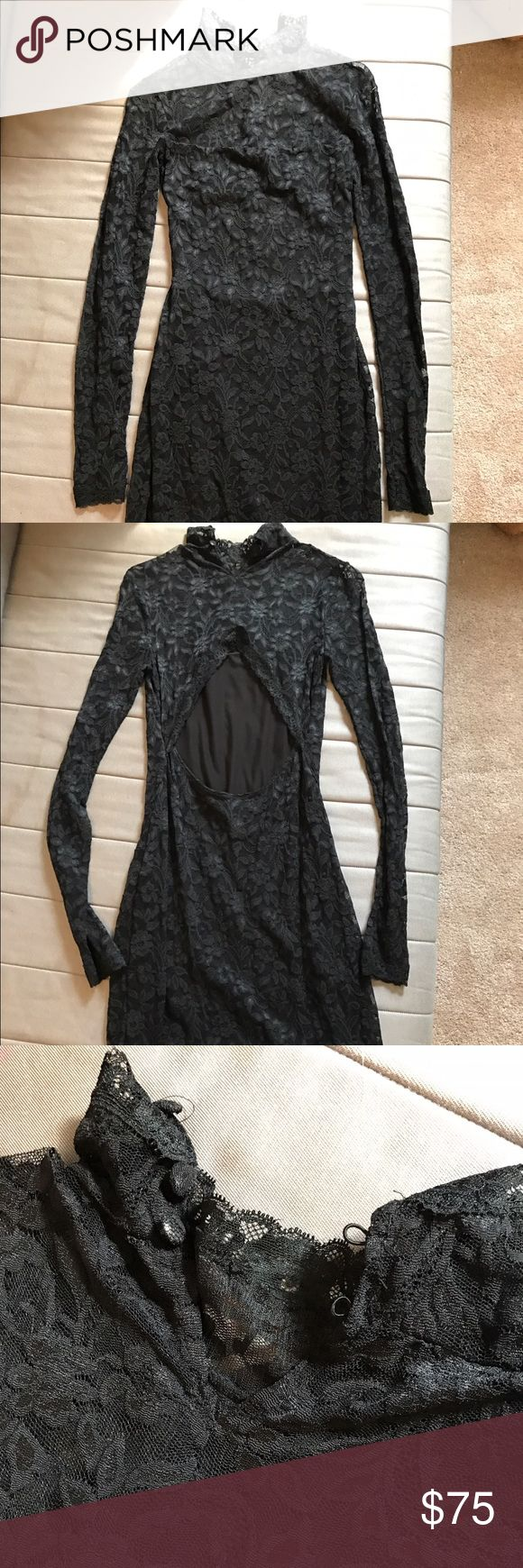 Black Lace Turtleneck Dress Black dress, all lace! Long sleeves, turtleneck buttons in the back, open back. Dress goes to about knee length. Slim fitting. New! Never worn! No tags, was ordered online! Size: small Moda International Dresses Long Sleeve