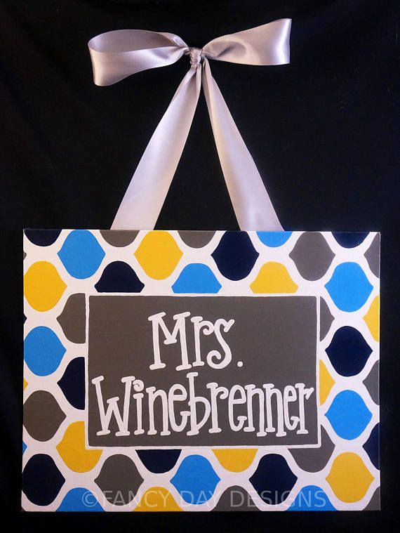 Colorful patterned teacher door sign that is HAND PAINTED and can be customized to your preference! Our signs make your classroom even more exciting and unique by setting your door apart from the others! THIS DOOR SIGN:  Is painted on an 11x14 canvas panel  Background is white with a pattern of pink, purple, navy, lime green, brown, and turquoise. Center is navy blue with white writing.  Has colors that may be changed to anything you would like. (Just let us know the color in the notes when…