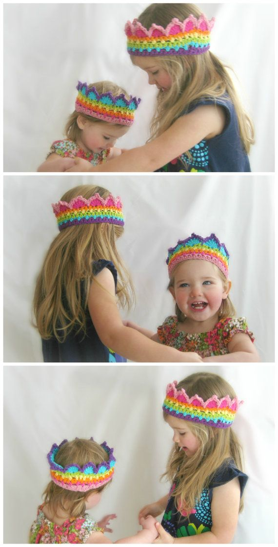 CUSTOM Rainbow Crochet Crown Boutique Color Block Crown Rainbow Princess Crown Made to Order. $20.00, via Etsy.