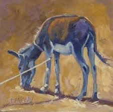 Painting of a lone donkey