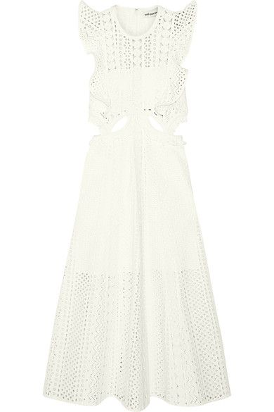 Self-Portrait - Ruffled Cutout Guipure Lace Midi Dress - White
