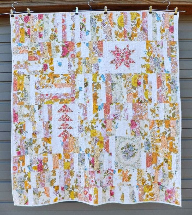 Vintage Improv - a lap quilt made from re-purposed vintage bed linen