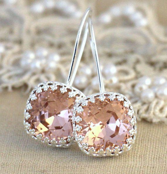 Silver Blush pink drop earrings Swarovski earrings  by iloniti
