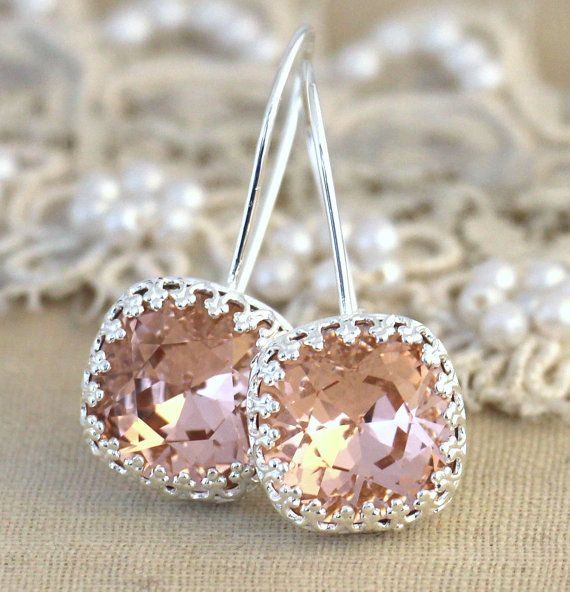 Silver Blush pink drop earrings Swarovski earrings  by iloniti
