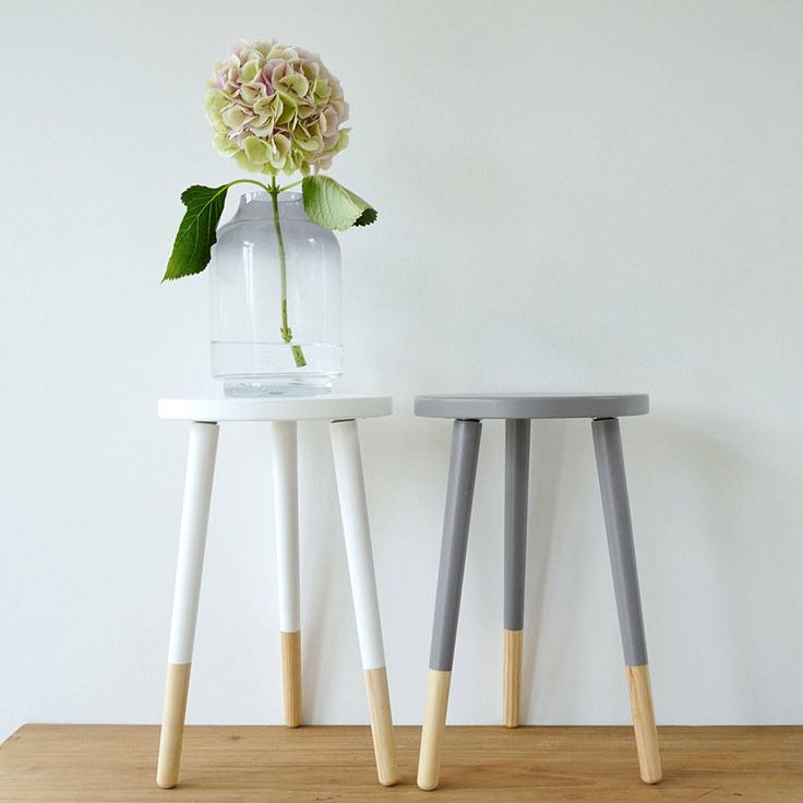 Grey, or white wooden stool with natural wood leg detail.Comes flat pack- very easy self assembly.Stylish Scandinavian style smaller size natural wooden stool with painted grey or white wooden detail. Each stool comes with three natural wooden legs. The stool is ideal in a child's bedroom, at a low table or to use as a side table. The stools can be used all around the home as a stool at the kitchen table or dining table. This would also make a lovely side table in the bedroom or sitting…