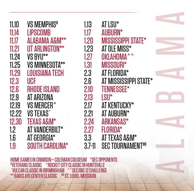 Alabama Basketball 2017-2018 Schedule - Graphic from @alabamambb on Instagram | #Alabama #RollTide #Bama #BuiltByBama #RTR #CrimsonTide #RammerJammer #BuckleUp