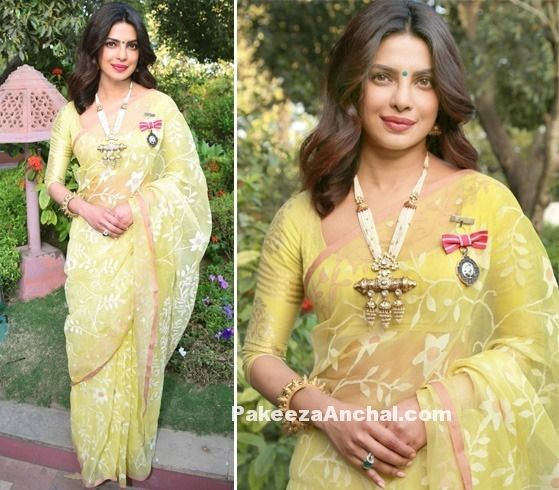 Actress Priyanka Chopra in Lime Green Madhurya Saree-PakeezaAnchal.com