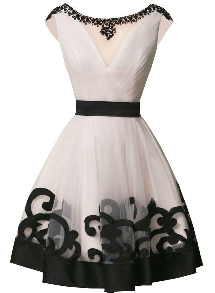 Unique Vintage Black and White Cocktail Dress