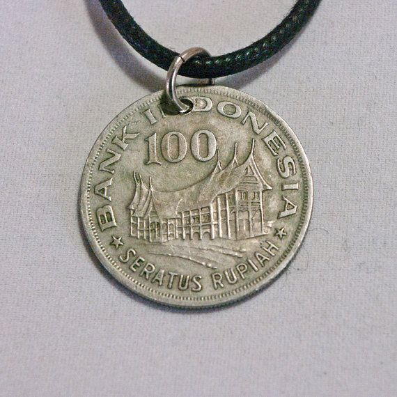 Indonesia Coin Necklace 100Rp 1978 Coin by AlterDecoCoinsnBeads