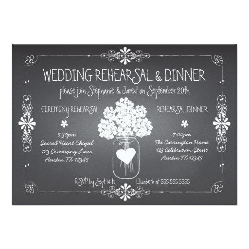 Chalkboard Wedding Rehearsal and Dinner Mason Jar Cards