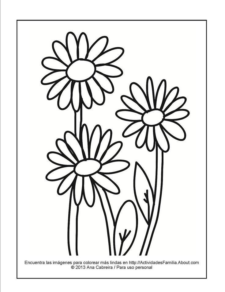 11 Lindos Dibujos De Flores Para Colorear Margaritas Patrones De Bordado Margaritas Dibujo Pintura De Margarita