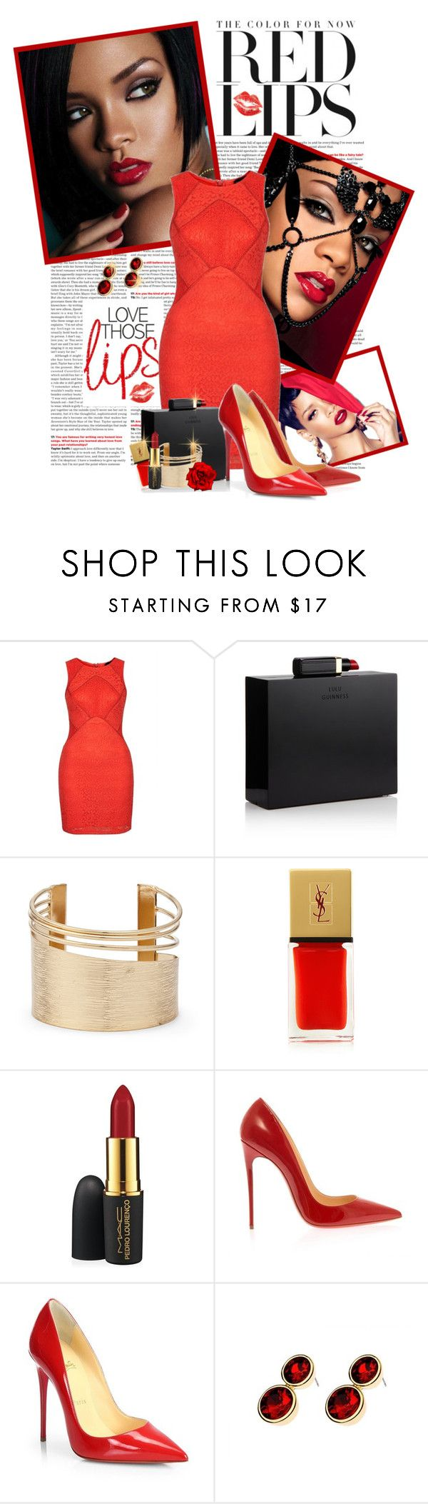 """Red Lips..Red Nails..Red Outfit"" by shortyluv718 ❤ liked on Polyvore featuring Topshop, Lulu Guinness, Sole Society, Yves Saint Laurent, MAC Cosmetics and Christian Louboutin"