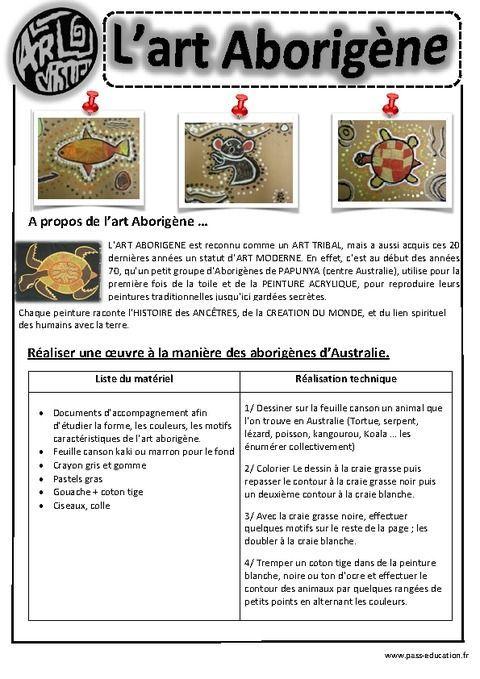 Art Aborigène – Ce1 - Ce2 – Cm1 – Cm2 – Arts visuels – Cycle 3 - Pass Education: