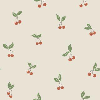 Boråstapeter Lilleby körsbär beige/röd