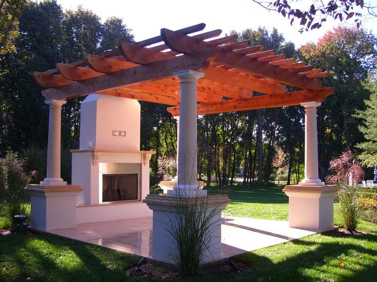 Cedar Pergola,limestone Patio,marble Column Tops,fiberglass Columns,stainless  Steel Fireplace