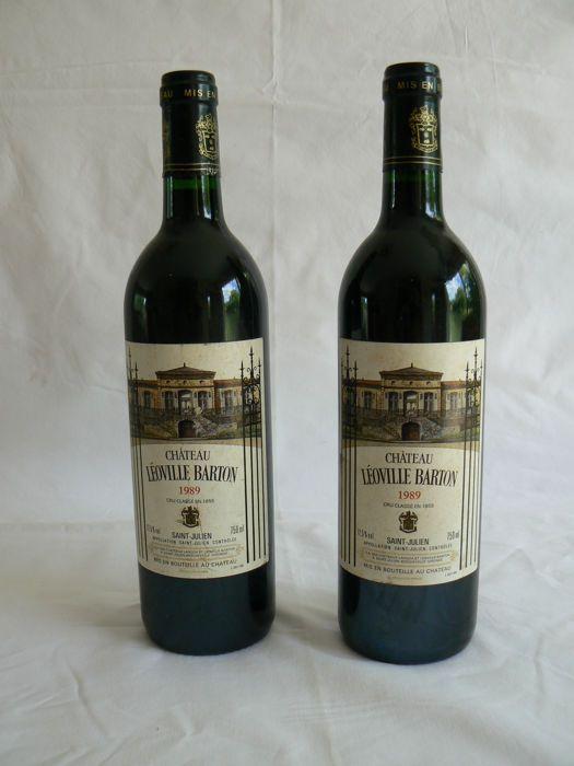 1989 Château Leoville Barton Saint-Julien - 2 flessen (75cl)  Altijd gehouden in kelder - normaal niveau - Label: goed - 1989: zeer goed jaar  EUR 6.00  Meer informatie