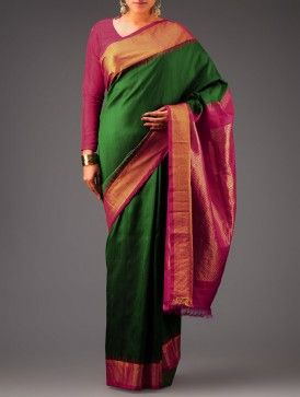 Green-Pink Kanchipuram Silk Saree