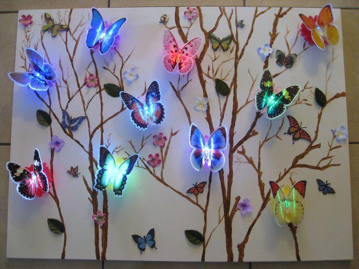 Vlinder schilderij met led lampjes