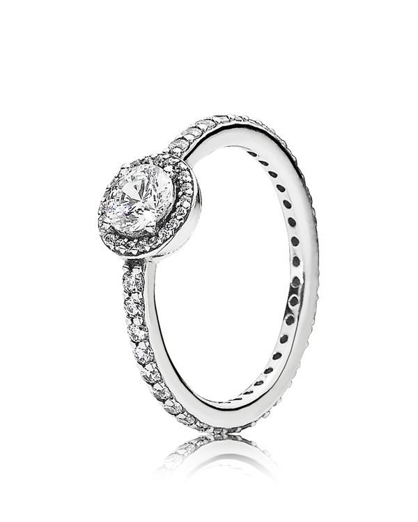 Cubic zirconia elements add a shimmering grace to Pandora's classic-look ring. | Imported | Style #190946CZ-52 | Sterling silver/cubic zirconia | Photo may have been enlarged and/or enhanced | Web ID: