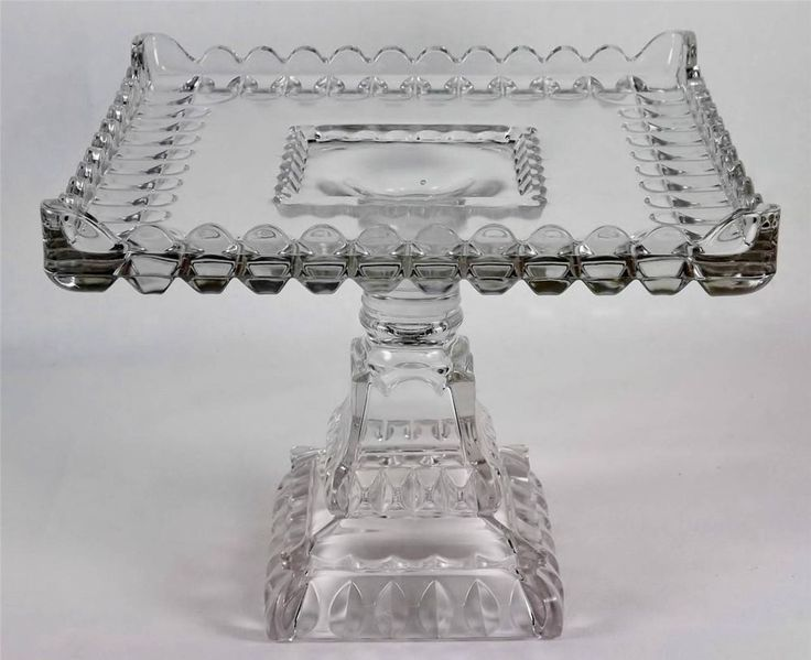 Antique EAPG Cake Stand Adams & Co.Square Glass Pedestal w/Rum Well  Circa1890
