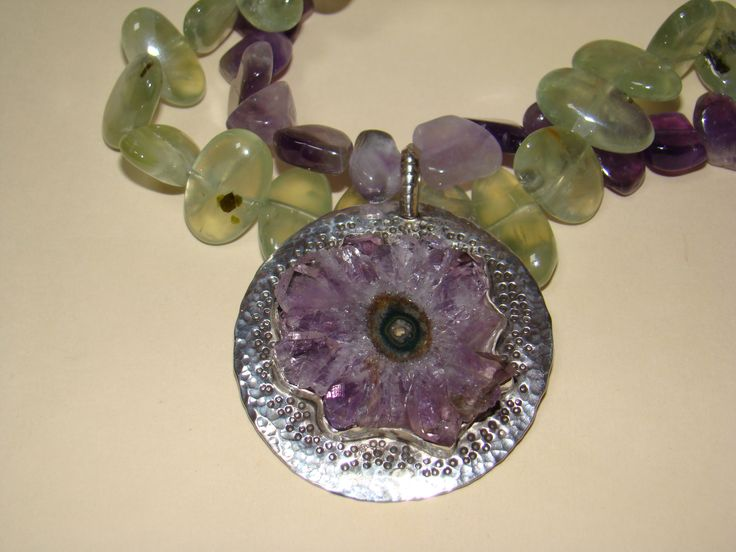 Green and Purple Amethyst Geode Necklace for sale now! contact me