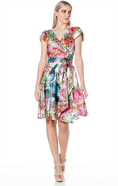 Cocktail - HOW SWEET IT IS SILK CAP SLEEVE A-LINE FULL SKIRT WRAP DRESS IN MULTI FLORAL PRINT