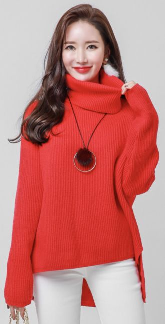 StyleOnme_Soft Turtleneck Ribbed Knit Sweater #red #sweater #turtleneck #knitwear #koreanfashion #kstyle #kfashion #dailylook