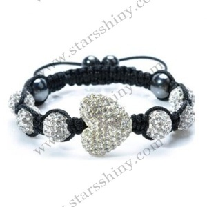 Shamballa Bracelet, 13*15mm heart clay clear rhinestone beads, adjustable. Sold individually