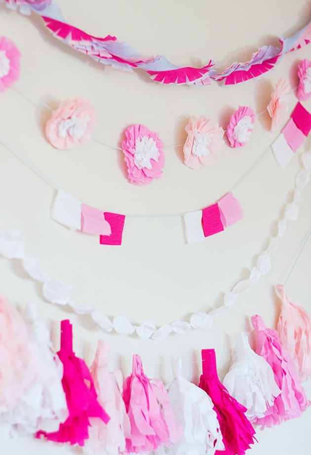 #Party Decoration #Crepe #Garland #DIY, #Party 5 DIY Crepe Paper Party Garlands