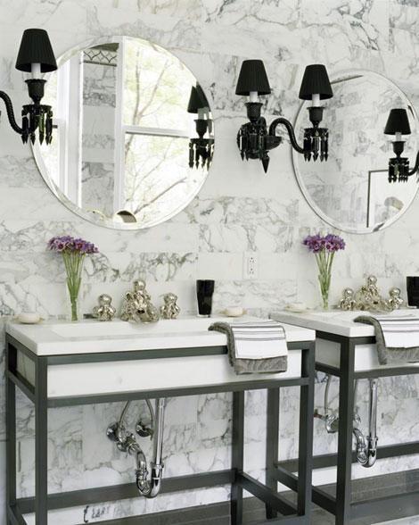 elegant white & gray bath, white carrara marble backsplash tiles    - decorpad