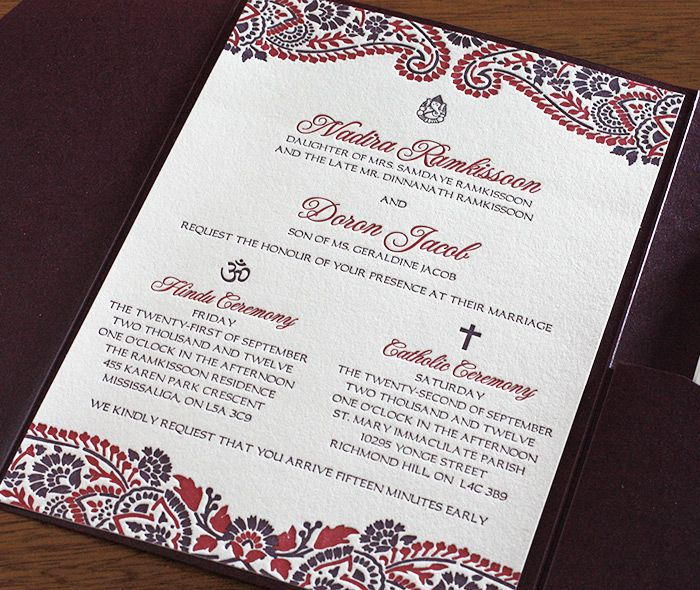 Hindu and catholic multicultural wedding invitation in ...