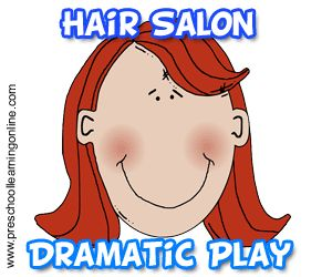 Hair salon dramatic play activities and pretend play ideas for children using a fun salon setup with preschool children at home or the classroom.