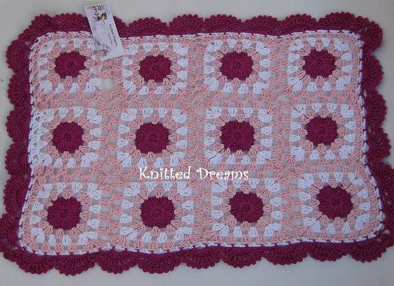 Baby Cotton Blanket Crochet Pink Child Stroller by tatocka on Etsy, $48.00