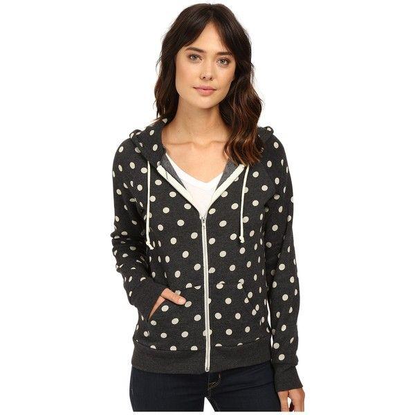 Alternative Printed Adrian Hoodie (White Polka Dot) Women's Sweatshirt ($53) ❤ liked on Polyvore featuring tops, hoodies, white zipper hoodie, long hooded sweatshirt, white hoodies, long zip hoodie and white zip hoodie