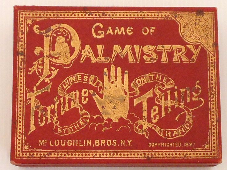 """Game of Palmistry copyrighted 1887, Fortune Telling card game """"by the lines on the hands"""" game is complete with 48 cards and instruction booklet"""