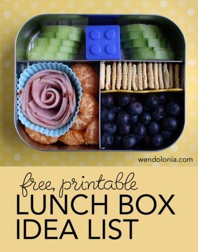 Printable Lunch Box Idea List