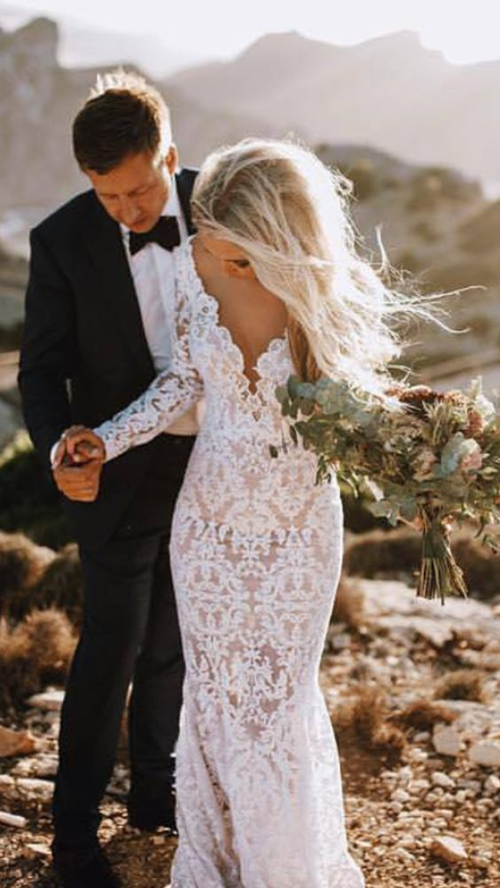846c59ca4b39 See Through Lace Rustic Wedding Dresses Long Sleeve Mermaid Wedding Dress  AWD1165 | Wedding Dresses | Bridal wedding dresses, Wedding dresses, Long  wedding ...