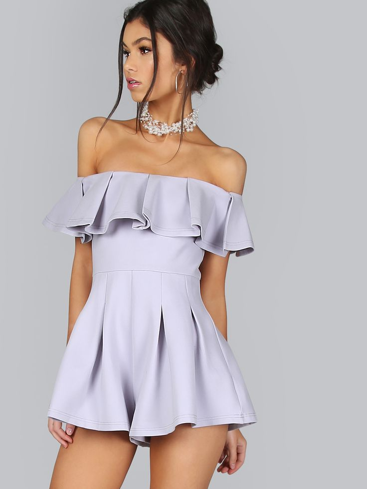 Shop Off the Shoulder Ruffle Romper SKY online. SheIn offers Off the Shoulder Ruffle Romper SKY & more to fit your fashionable needs.