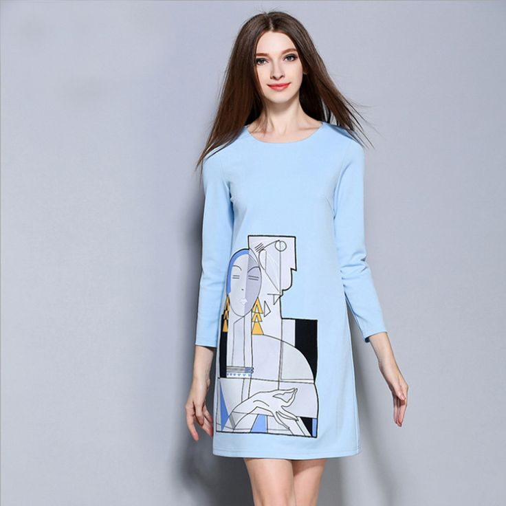 Europe new fashion autumn print fresh Abstract picture long sleeved dress Elegant loose plus size blue dresses 1579