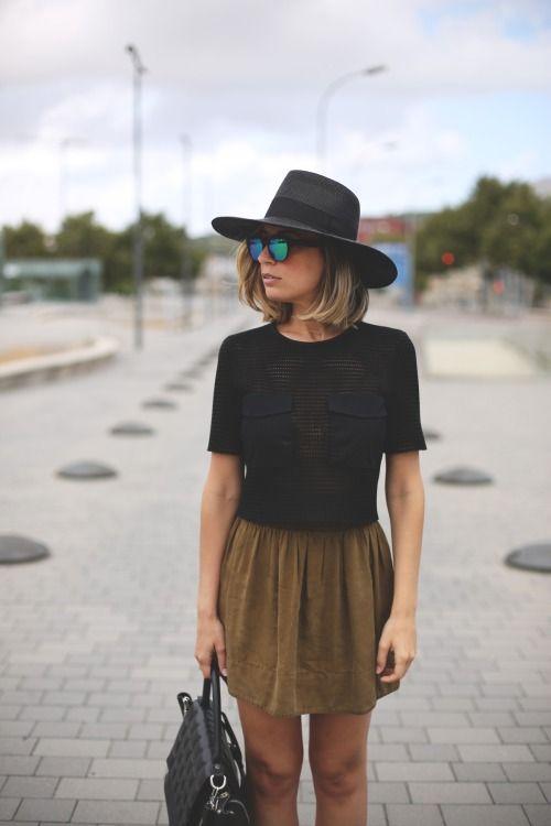 black top, camel skirt
