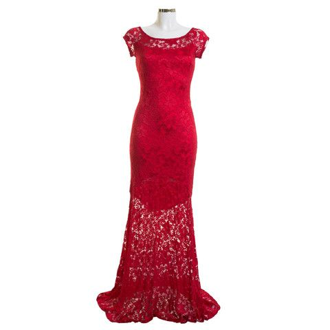 Sharde RD Red Floor Length Lace Dress | Debra Chigwell