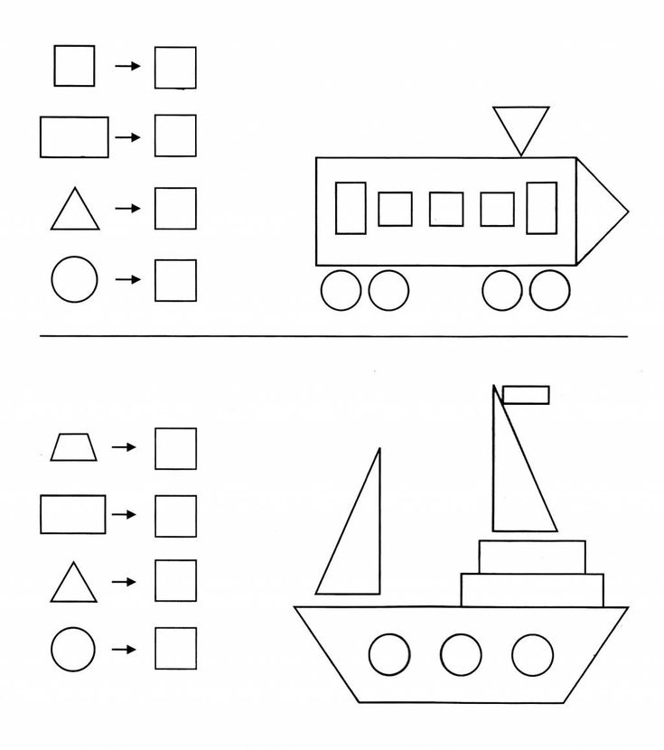 Welche geometrischen Formen wurden bei diesen Bildern verwendet und wie oft?
