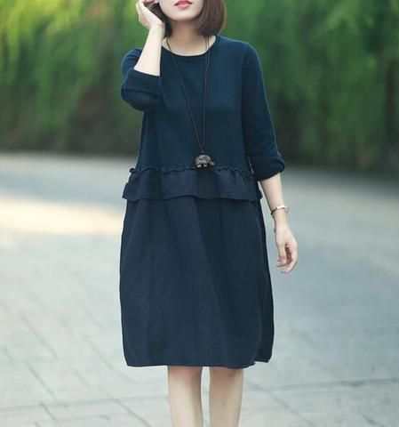 Mori Girl Patchwork Linen V-neck Long Sleeve Solid Dress